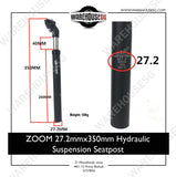 ZOOM 27.2/31.6mmx350mm Hydraulic Suspension Seatpost for MTB Bike/ Bicycle / Electric Scooter
