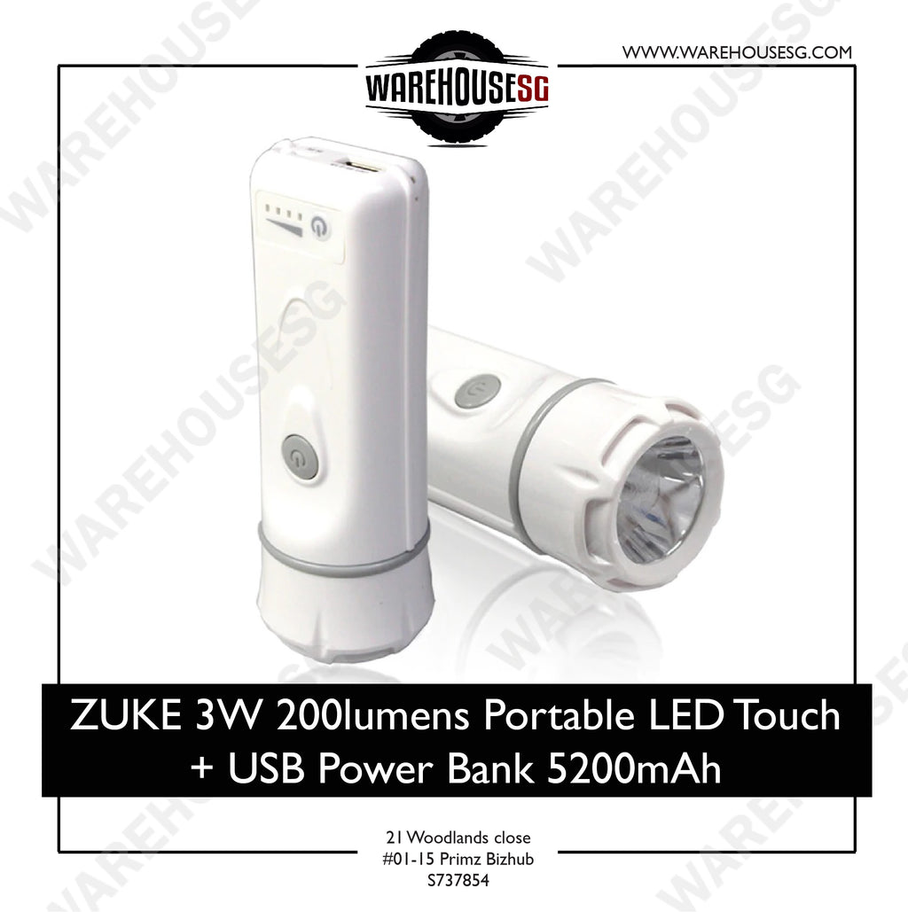 ZUKE 3W 200lumens Portable LED Touch + USB Power Bank 5200mAh