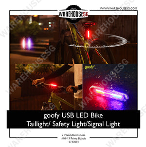 goofy USB Rechargeable Bicycle Light 3-color LED Bike / Bicycle Safety light/ Signal light