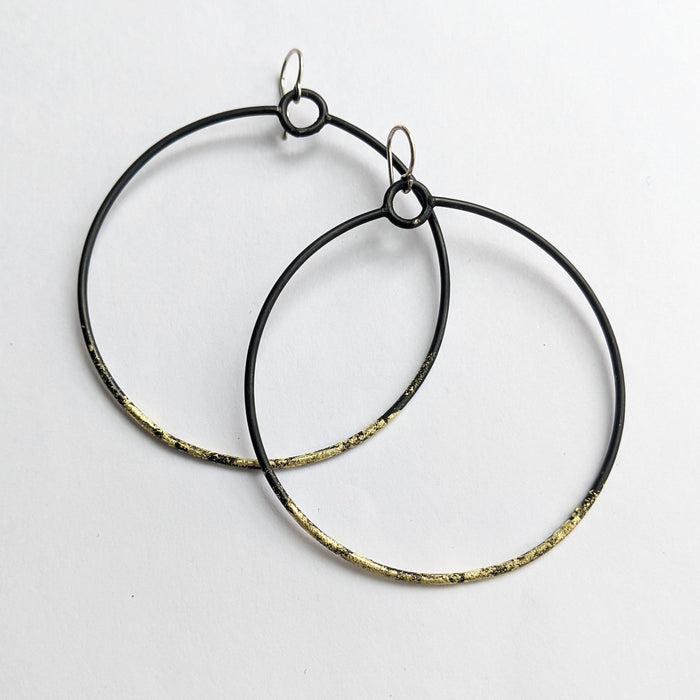 Large Steel Hoops with Gold Foil