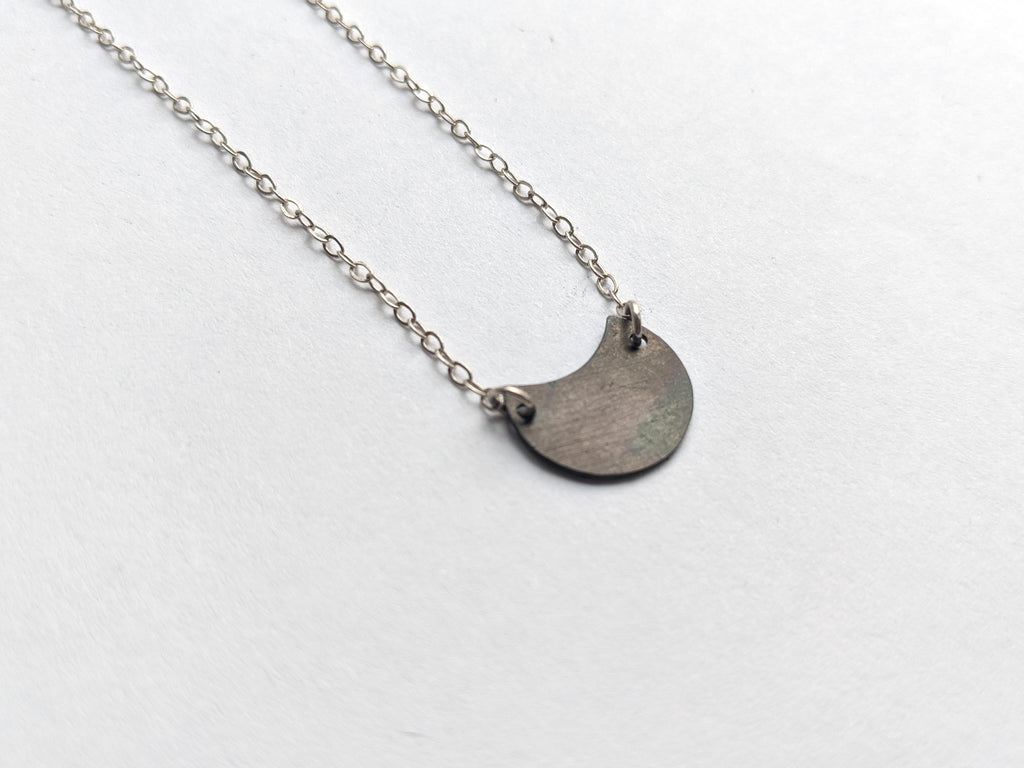 Small Steel Crescent Necklace