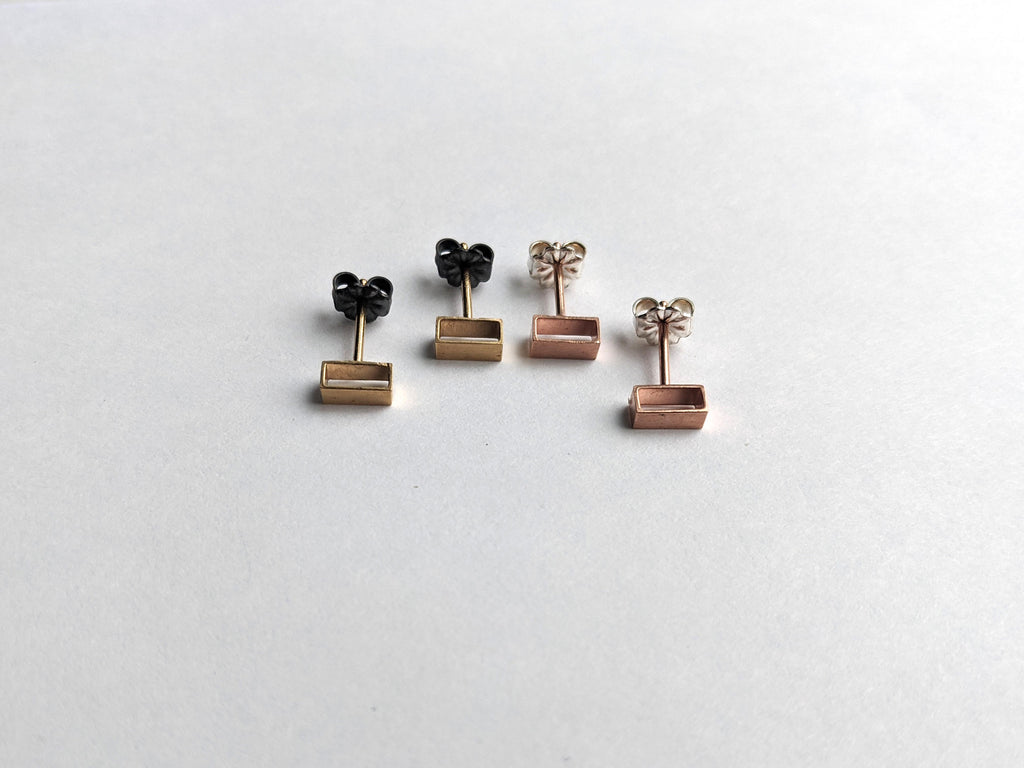 Hallow Rectangle Cube Studs