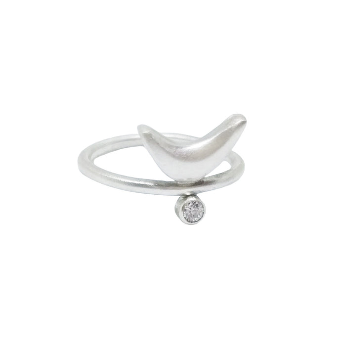 Silver swarovski crystal ring with moon shape