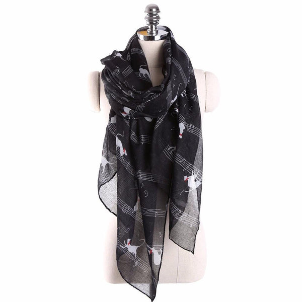 Musical Note and Cat Print Scarf