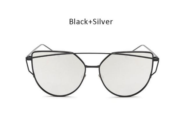 Twin-Beam Mirror Cat Eye Sunglasses