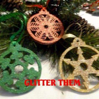 wood gold glitter christmas tree decorations handmade xmas tree ornament - Glitter Christmas Tree