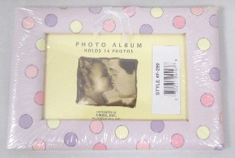 Uniek Accordion Style Photo Album, Holds 14 Photos (Lavender Polka Dot)