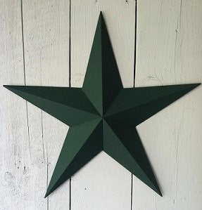 "Heavy Duty Metal Star 40"" Painted Solid Green. These Metal Stars Are a Great Addition to Your Home Decor. You Will Not Be Disappointed with the Quality and Workmanship on These Barn Stars. They Are Handcrafted Out of 22 Gauge Galvanized Steel and Will Not"