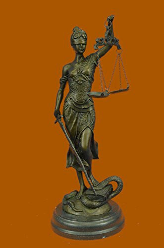 "Handmade European Bronze Sculpture 14""x7""... 9 LBS ...Large 14"" Heavy Solid Lady Blind Justice Lawyers Themis Deal Decor (YDZ-010-UK) statue statues figurine figurines nude décor collectibl"