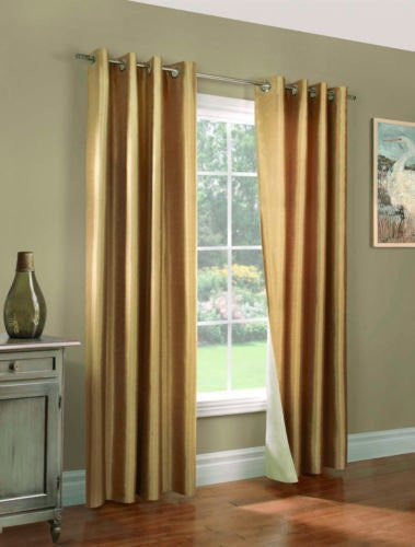 "Gorgeous Home (#72) 1 PANEL SOLID GOLD 108"" LONG THERMAL FOAM LINED BLACKOUT HEAVY THICK WINDOW CURTAIN DRAPES BRONZE GROMMETS"