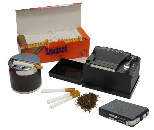 Powermatic 2 Plus Electric Cigarette Machine Package w/ Box of 200 Filter Tubes, Ethereal Ashtray & Cigarette Case Dual Flame Lighter