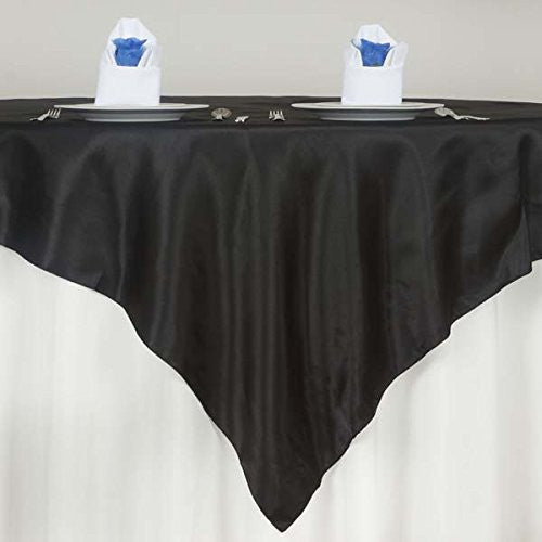 "72"" SATIN Square Table Overlay For Wedding Catering Party Table Decorations BLACK (Table Toppers)"