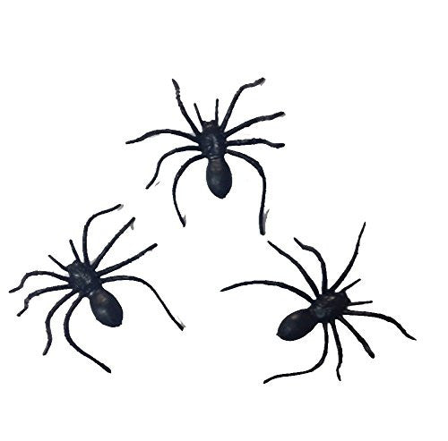 Plastic Spiders 2in Halloween Decorations