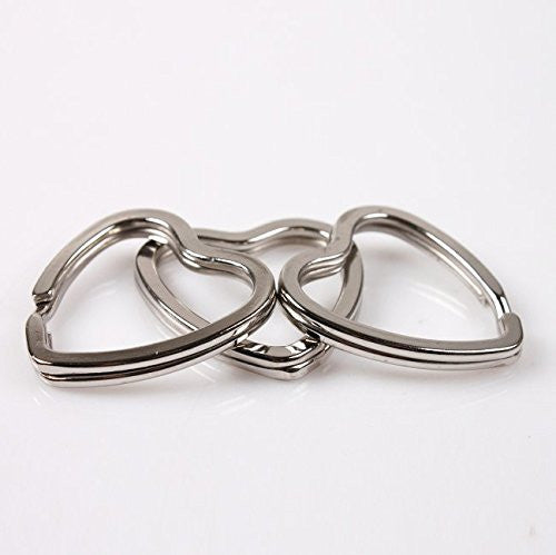 32mm Heart Shape Split Rings Silver Color (Pack of 10)
