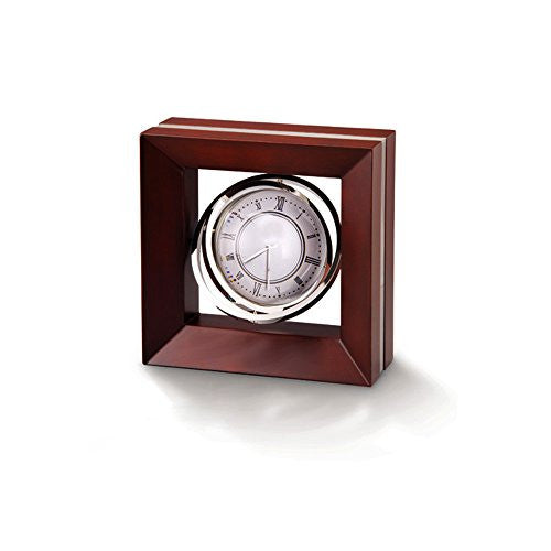 Executive Desk Clock, Gyroscopic Mag Clock/Globe in Rosewood Case.