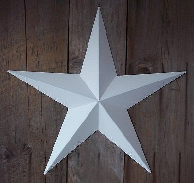 40 Inch Solid White Barn Star Made with Galvanized Metal to Prevent Rusting. Amish Hand Made Your Source for Heavy Duty Metal Tin Barn Stars and Primitive Style Stars for Your Country Crafts and Home and Garden Decor. American Handcrafted - Made in the Us