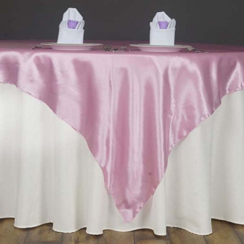 "60"" SATIN Square Table Overlay For Wedding Catering Party Table Decorations PINK (Table Toppers)"