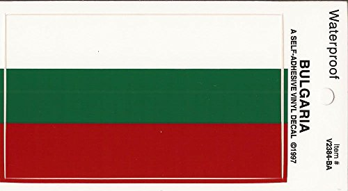 "PACK of 25 Full Size Bulgaria Flag Vinyl Decal Stickers 2 3/8"" x 4"", Waterproof Bulgarian Flag Sticker Decals Made in USA"