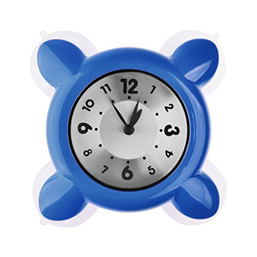 haoun Bath Shower Clock Kitchen Bathroom Waterproof Quartz Silicone Suction Cup Wall Clock - Blue