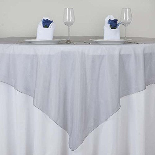 "Silver Organza Table Overlay 72x72"" (Table Toppers)"