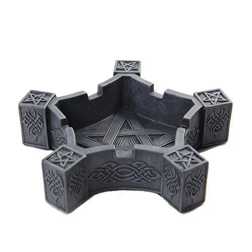 PTC Pacific Giftware Pentacle Geometric Shaped Hand Painted Resin Ashtray, Dark Gray
