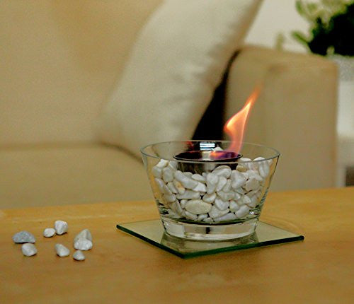 Designer's All Season Table Top Ethanol Fireplace, Both Indoor and Outdoor Use (Glass Bowl)