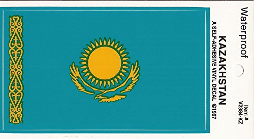 "PACK of 25 Full Size Kazakhstan Flag Vinyl Decal Stickers 2 3/8"" x 4"", Waterproof Kazakh Flag Sticker Decals Made in USA"