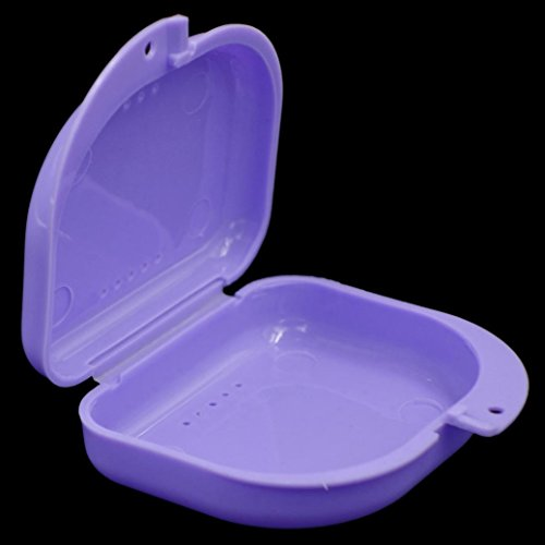 Dentures Box,Saingace Denture Bath Box Case Dental False Teeth Appliance Container Storage Boxes Dentu (Purple)