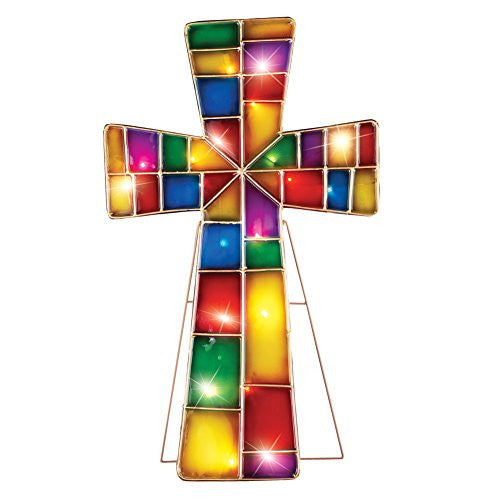 Lighted Stained Glass Cross Stake