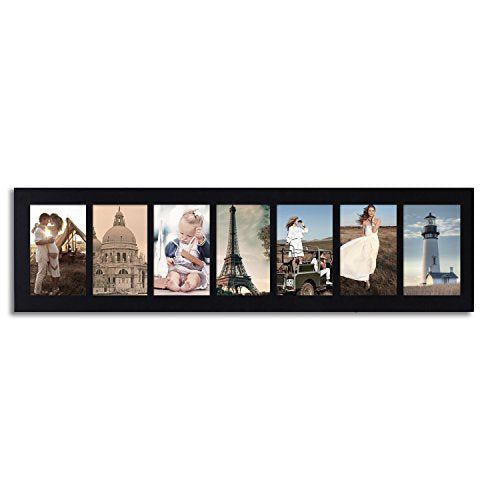 Adeco [PF0273] Black Wood Hanging Picture Photo Frame, Divided, 7 Openings, 4x6""
