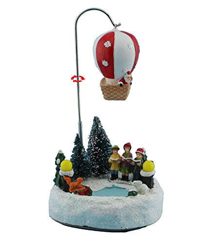 Animated Rolling Collectible Figurine Building & Choirs with Led Light and Music Holiday Decoration & Gift (Rolling Air Ballon)