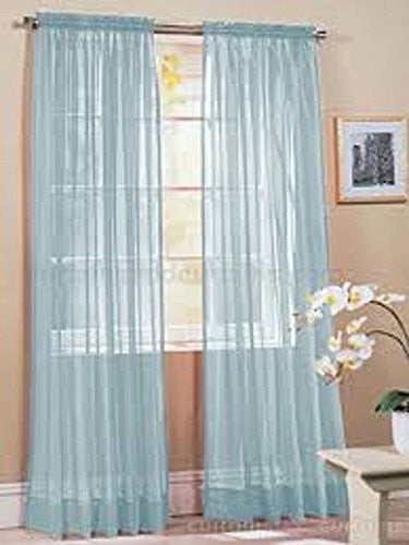 "Gorgeous Home 2PC LIGHT BLUE SOLID SOFT VOILE SHEER WINDOW CURTAIN PANELS DRAPES 54"" WIDE X 95"" LONG"