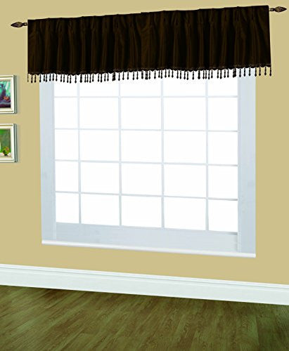 Editex Home Textiles Elaine Lined Pinch Pleated Valance, 48 by 18-Inch, Chocolate