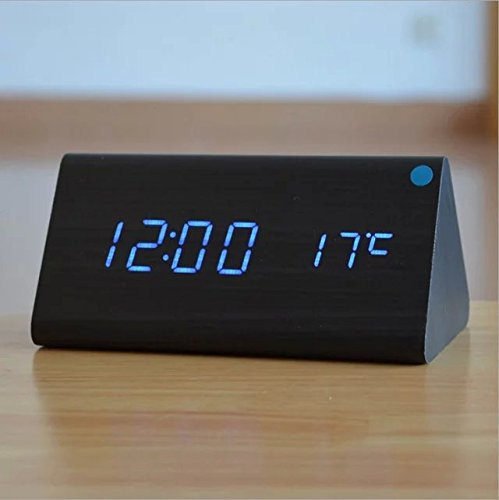 SPA Tool® Battery or USB Powered Triangle Alarm Clock - Time Temperature Display & Sound Control(Black wood Blue LED)