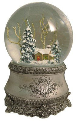"5.5"" Cottage With Tree Glitter Silver Base 100mm Dome Plays I'll Be Home For Christmas by Roman"