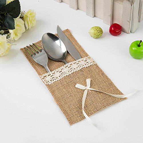 Burlap Silverware Holders, Rustic Table Decor, Wedding Table Set, Burlap Cutlery Holder. Flatware Holder