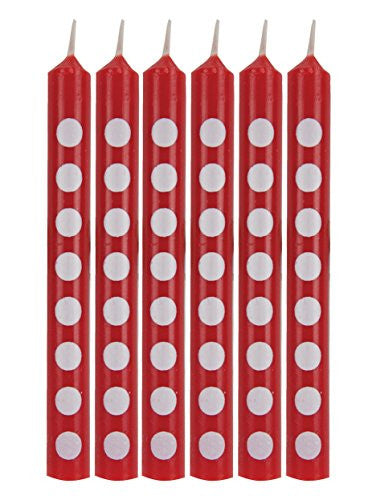 Creative Converting 12 Count Polka Dots Birthday Cake Candles, Classic Red