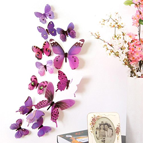 Anshinto 12pcs 3D Butterfly Rainbow Decal Wall Stickers Home Decorations Mural Decals (purple)