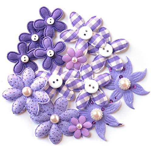 Mini Brads Hearts & Flowers 44/Pkg-Pure Purple