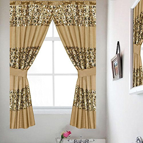 Popular Bath Sinatra Sequin Window Curtain with Tiebacks, Champagne Gold, 36x54 Inches