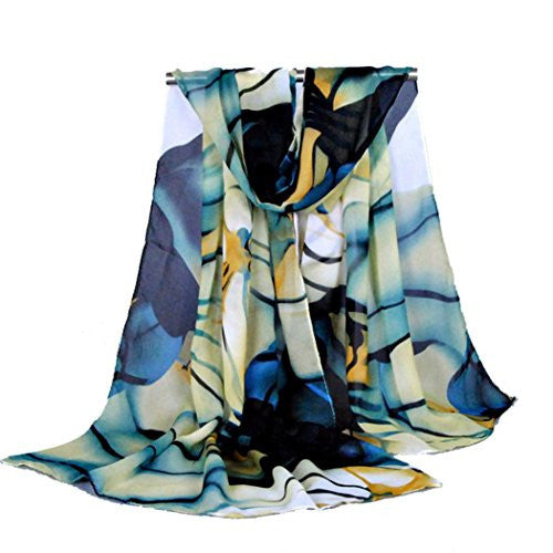 BeautyVan, Fashion Long Wrap Shawl Chiffon Scarf (blue)