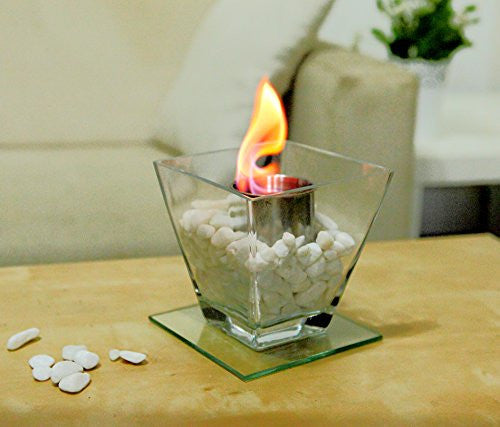 Designer's All Season Table Top Ethanol Fireplace, Both Indoor and Outdoor Use (Square Glass)