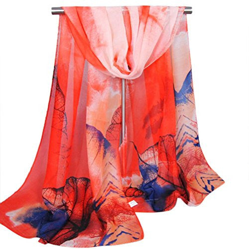 BeautyVan, Fashion New Lady Women's Long Soft Wrap Lady Chiffon Scarf Shawl Silk Scarves (Watermelon Red)