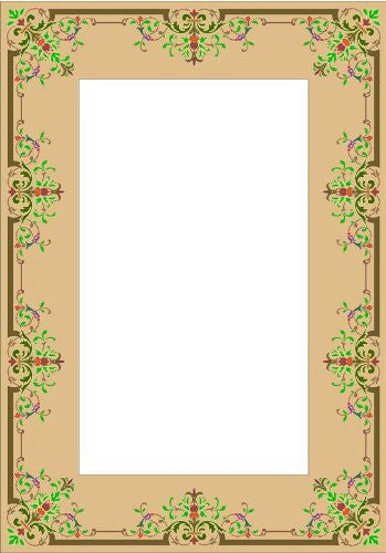 Picture Matting-Fleur-De-Lis Border with Accents-Vinyl Stained Glass Film, Static Cling Frame Decal