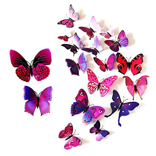 MassMall 12Pc Purple Butterfly Wall Stickers Art Decor Decals Wall Sticker Wall Decals Home Wall Stickers