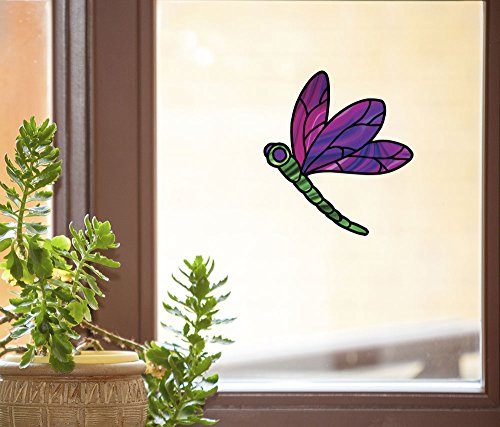 "Dragonfly Stained Glass - D2 - See-Through Vinyl Window Decal Copyright YYDCo. (4.75""w x 5.25""h)(Purple Wings)"