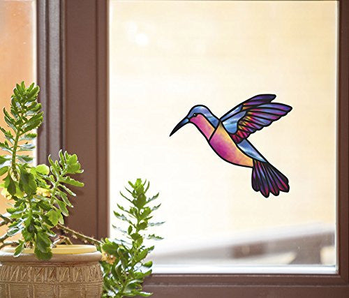 "Blue Rainbow Hummingbird - Stained Glass Style - See-Through Vinyl Window Decal - Copyright Yadda-Yadda Design Co. (6""w x 5.5""h) (COLOR VARIATIONS AVAILABLE) (MEDIUM, Blue Rainbow)"