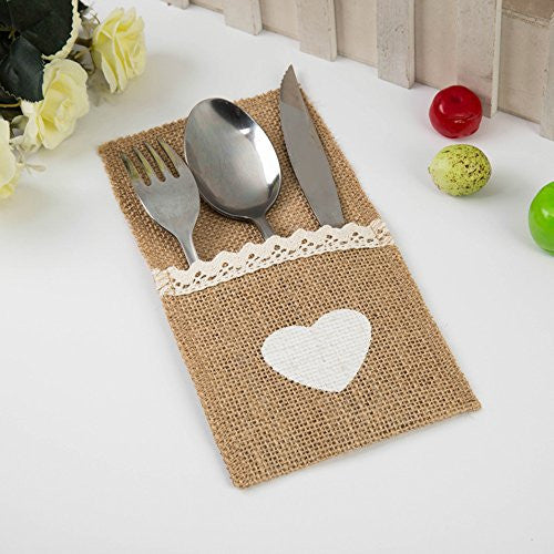 Burlap Silverware pocket table decor?Rustic Burlap Silverware Holders Personalized for your Country Wedding