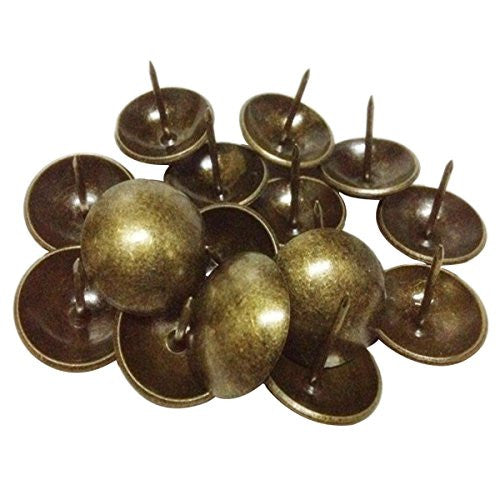 "FUBARBAR Hardware Decorative Period & Regional Upholstery Nails/Tacks Strips Clavos 1"" Antique Brass Nail Set of 50 pcs"