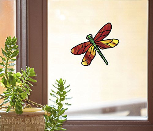 "Dragonfly Stained Glass - D1 - See-Through Vinyl Window Decal Copyright YYDCo. (5.75""w x 4""h) (Orange Wings)"
